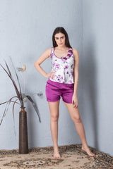 Floral print slip & shorts Night suit
