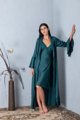 Bottle Green Long satin Nightgown set
