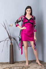 Printed Robe & Plain Nighty Nightgown set
