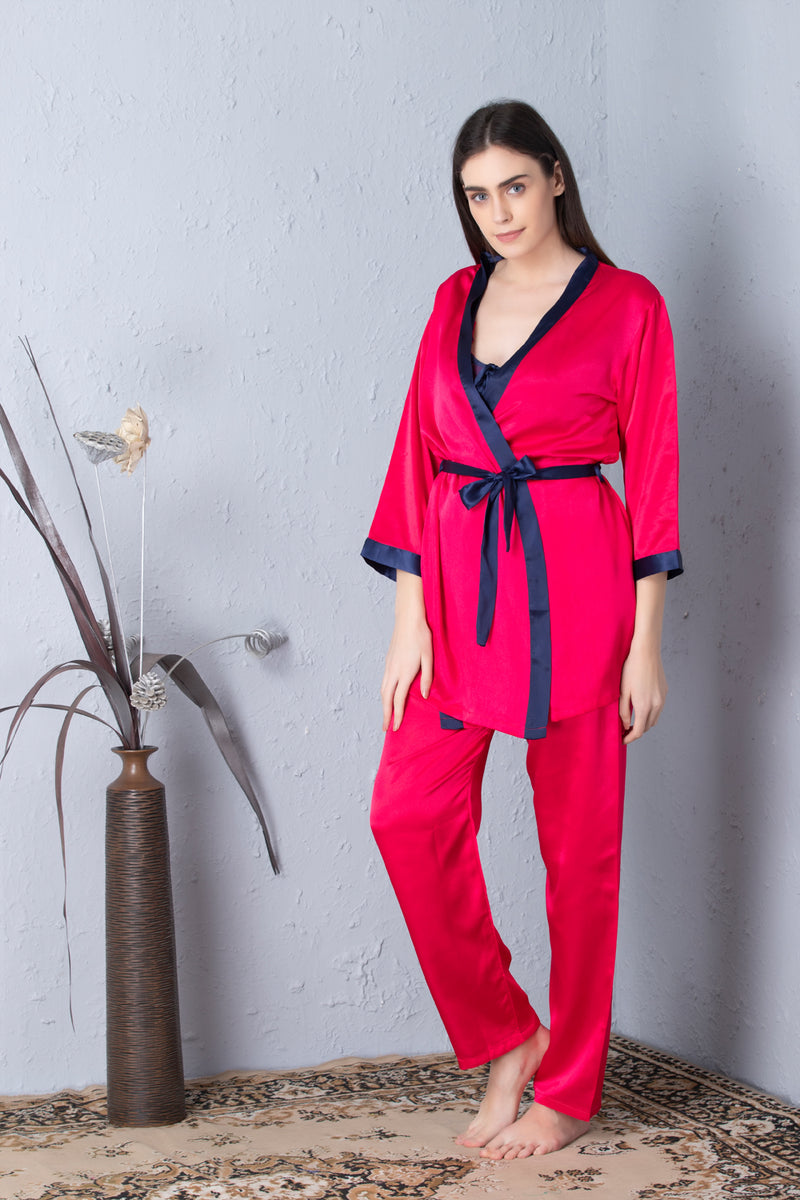 Hot pink Night suit with Robe