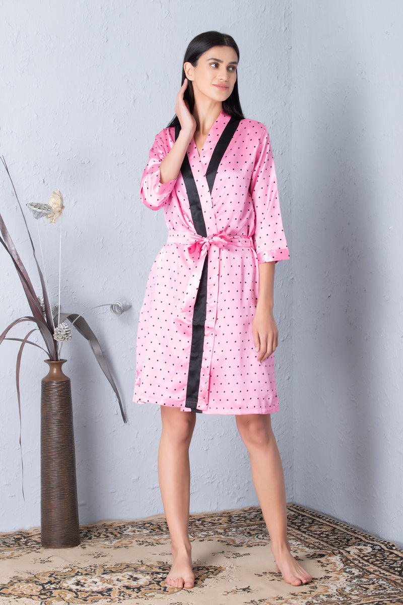 Polka dot Robe & Satin Nighty Nightgown set