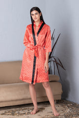 Polka dot Robe & Satin Nighty