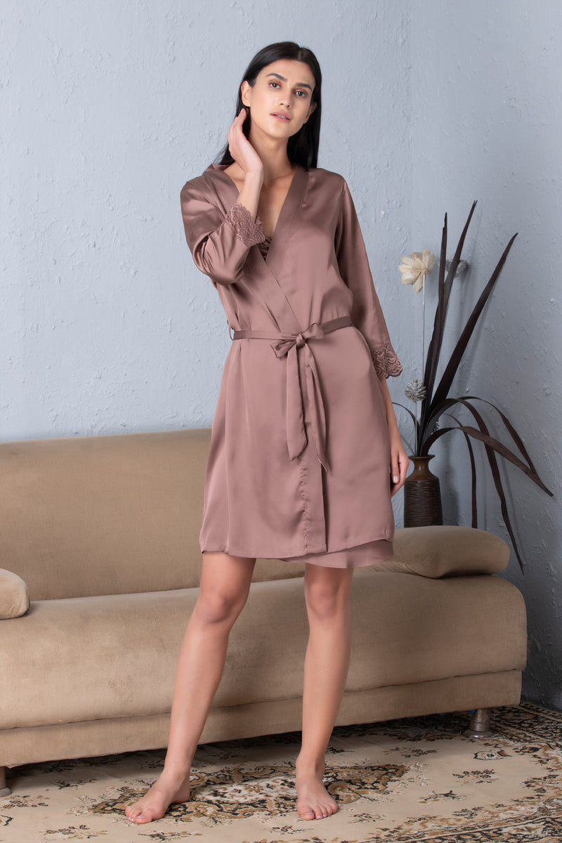 Satin Baby doll & Robe Nightgown set