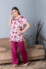 Short sleeve satin Night suit