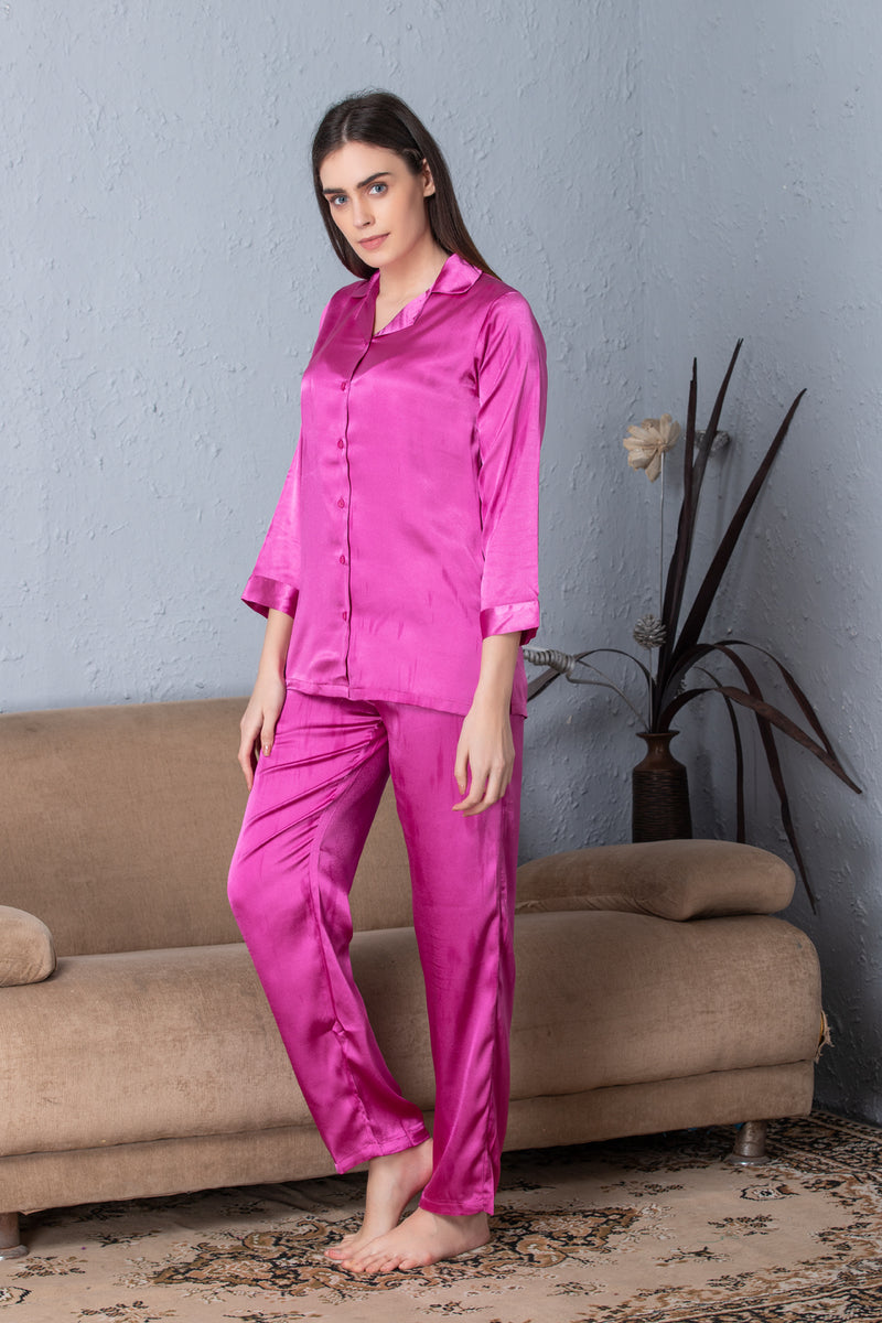 Pink Classic Collar satin Night suit