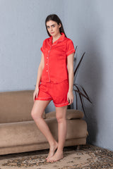 Red Satin Night suit with shorts