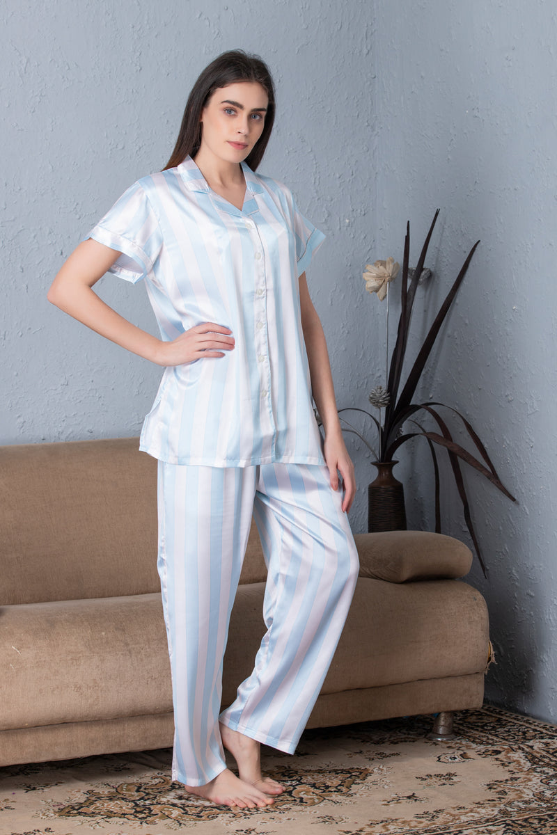 Stripe satin Classic collar Night suit