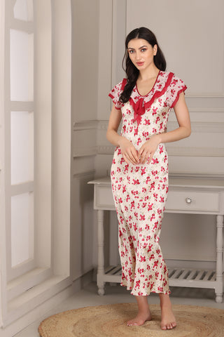 Printed Satin Nighty