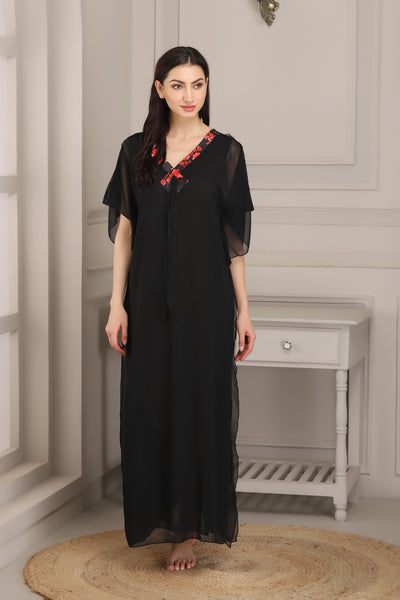 Black Double Chiffon Nighty