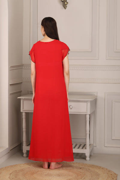 Red double chiffon Nighty