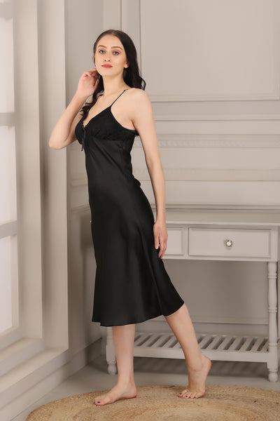 Black Satin Nightgown set