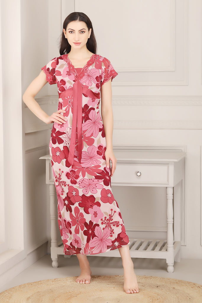 Printed Double chiffon Nighty