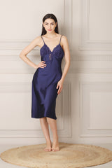 Satin Nightgown set in Navy blue Satin with Ruffle sleeves