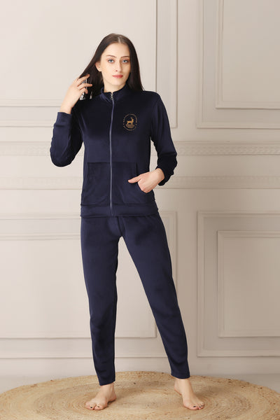 Navy Blue Super Soft Velvet Track suit