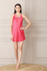 Short Nightgown set in printed satin
