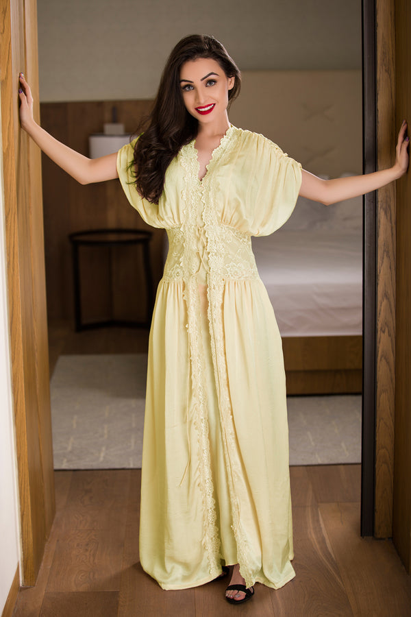 Lemon Long Nighty & Robe Nightgown set