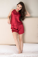 Private Lives Maroon Satin Top & Shorts - Private Lives