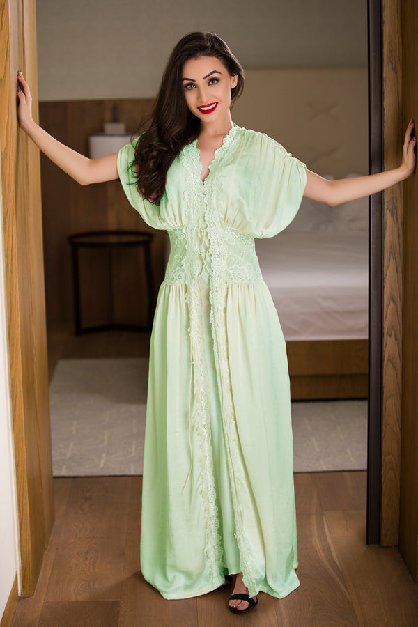 Mint Green Long Nighty & Robe Nightgown set