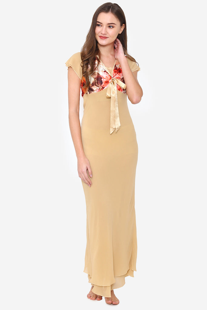 Gold Chiffon Long Nighty - Private Lives