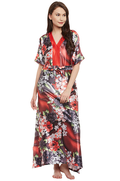Red Printed Long Nighty
