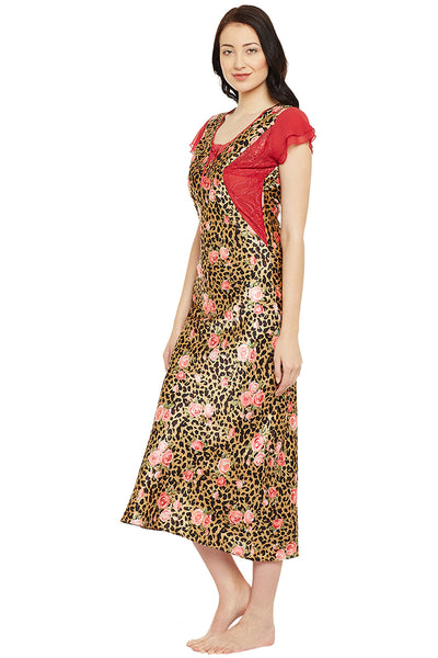 Printed Long Nighty In Gold Color - Private Lives