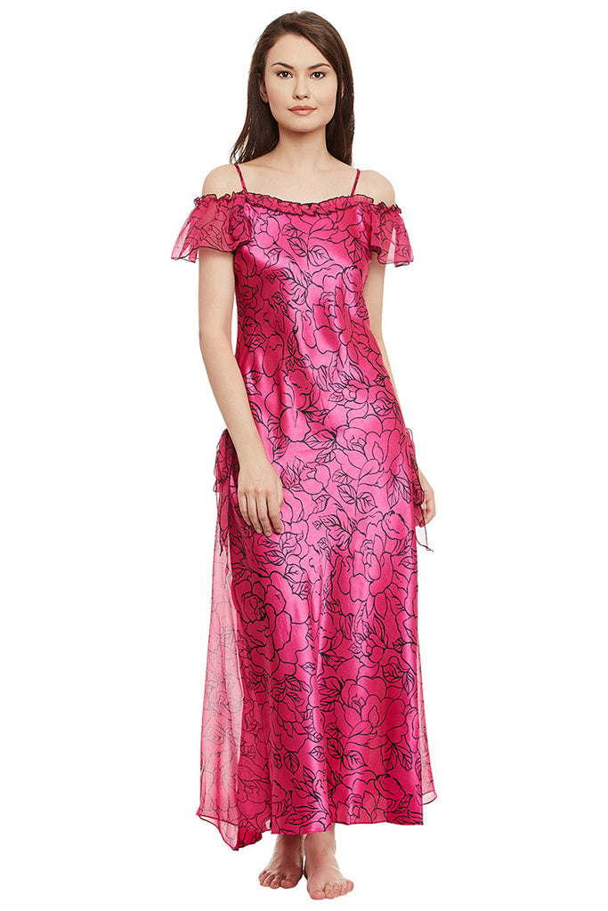 Fuschia Printed Long Nighty