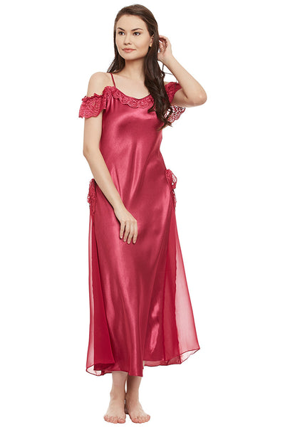 Rose Solid Long Nighty