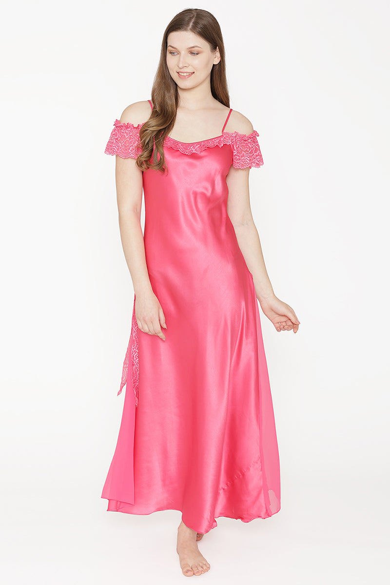 Private Lives Pink Satin Long Nighty - Private Lives