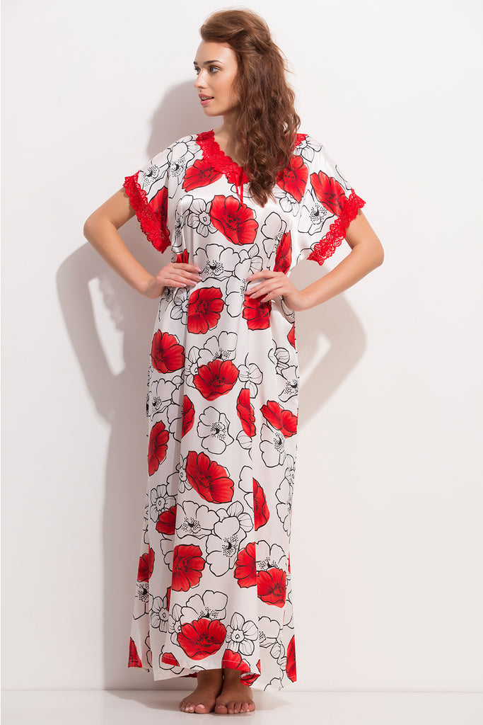 Printed Long Nighty In Red Color
