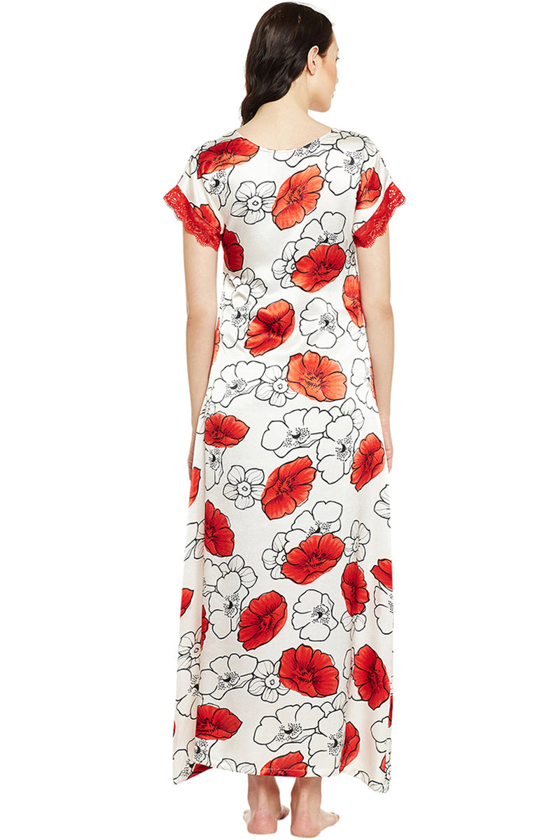 Printed Long Nighty In Red Color - Private Lives