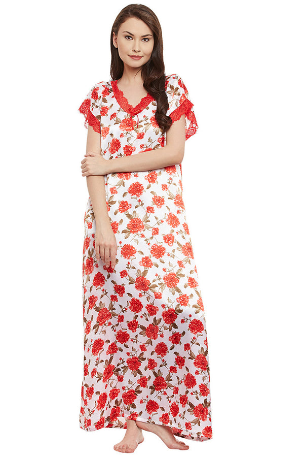 Red Printed Long Nighty - Private Lives