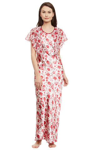 Maroon Printed Long Nighty
