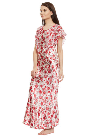 Maroon Printed Long Nighty - Private Lives