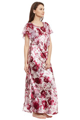 Wine Printed Long Nighty - Private Lives