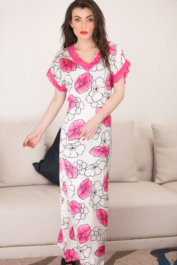 Pink Printed Long Nighty