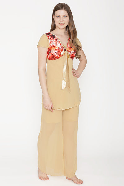 Private Lives Gold Chiffon Top & Pajama - Private Lives