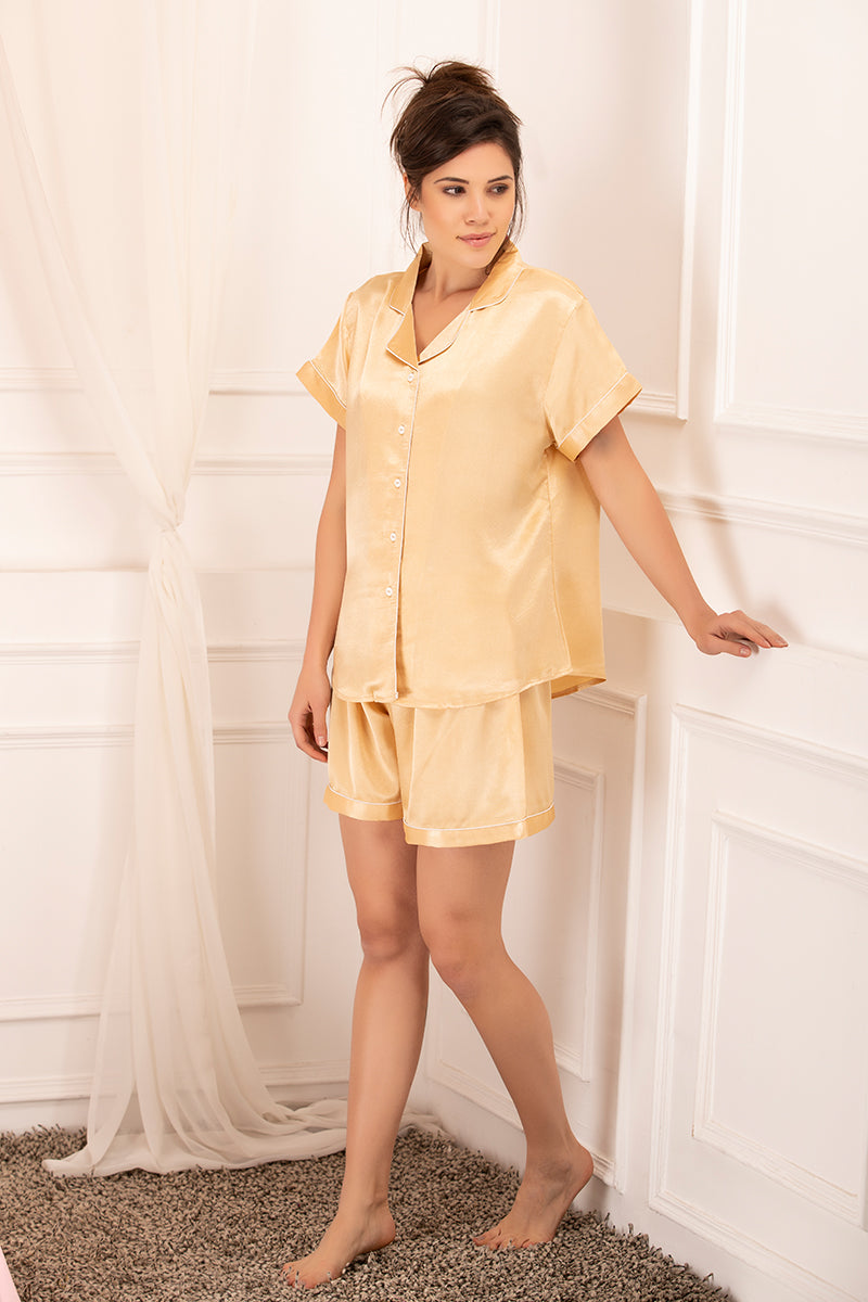 Private Lives Gold Satin Top & Shorts - Private Lives