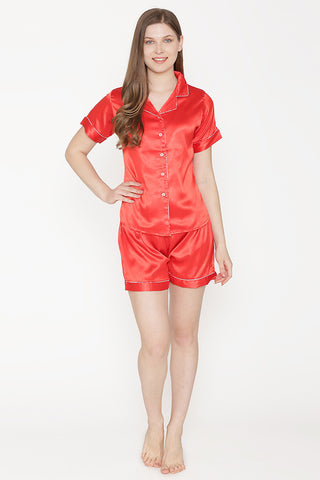 Private Lives Red Satin Top & Shorts - Private Lives