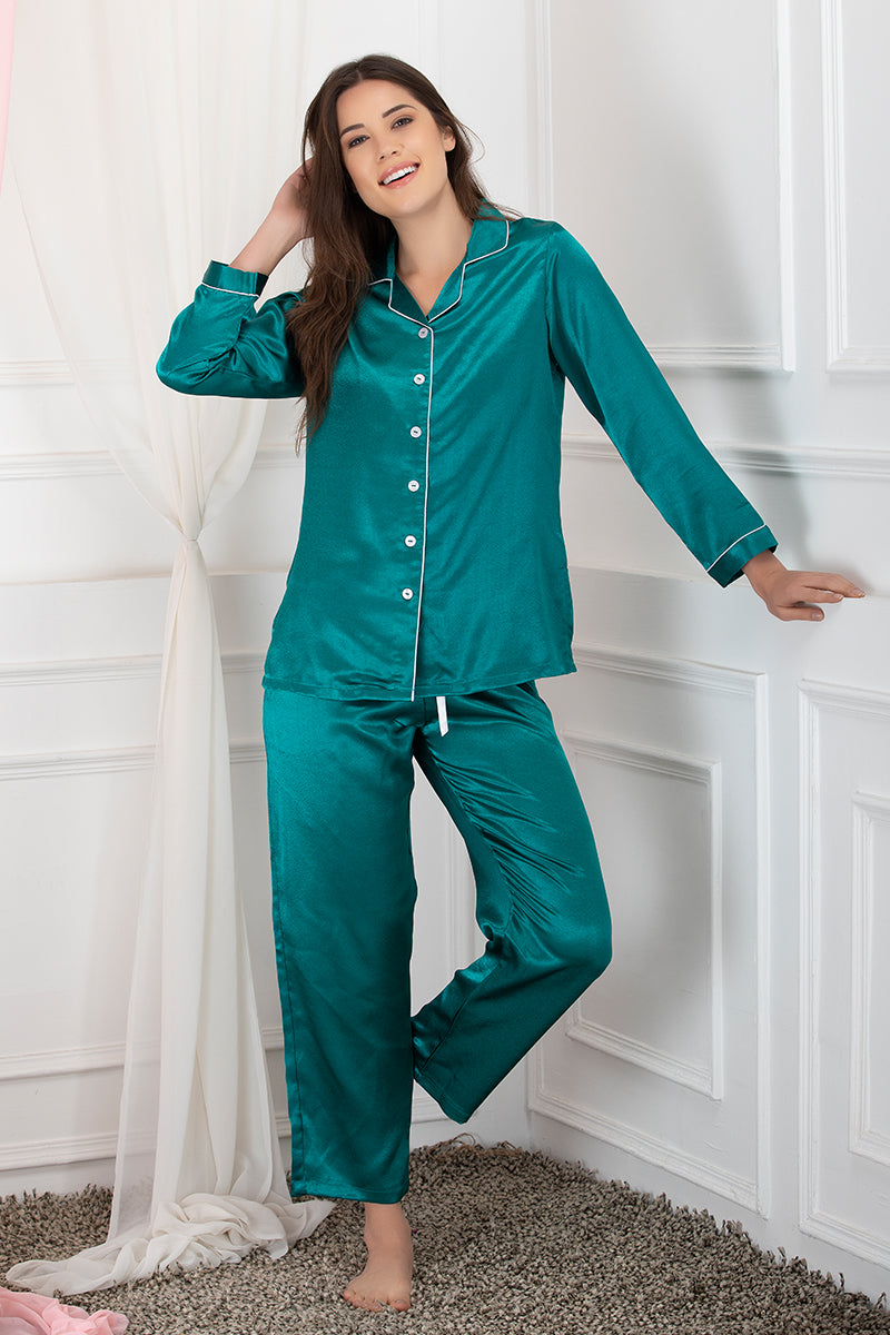 Private Lives Green Satin Top & Pajama - Private Lives