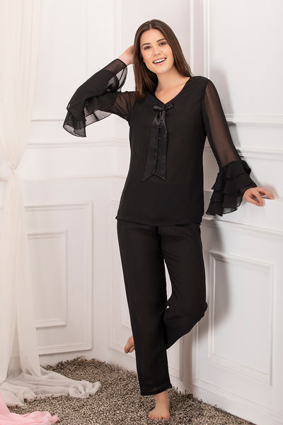 Private Lives Black Chiffon Top & Pajama - Private Lives
