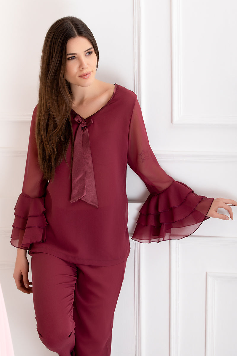 Private Lives Maroon Chiffon Top & Pajama - Private Lives
