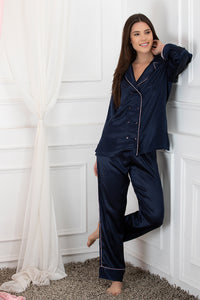 Private Lives Navy Blue Satin Top & Pajama - Private Lives
