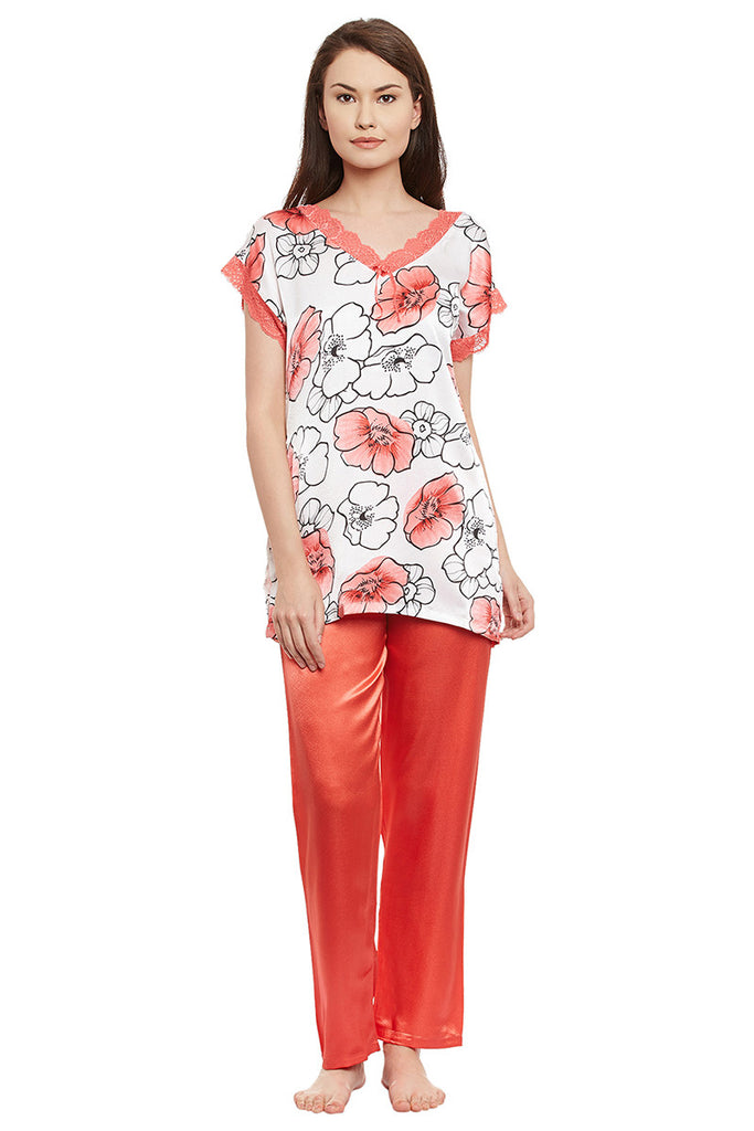Private Lives Peach Printed Top & Pajama