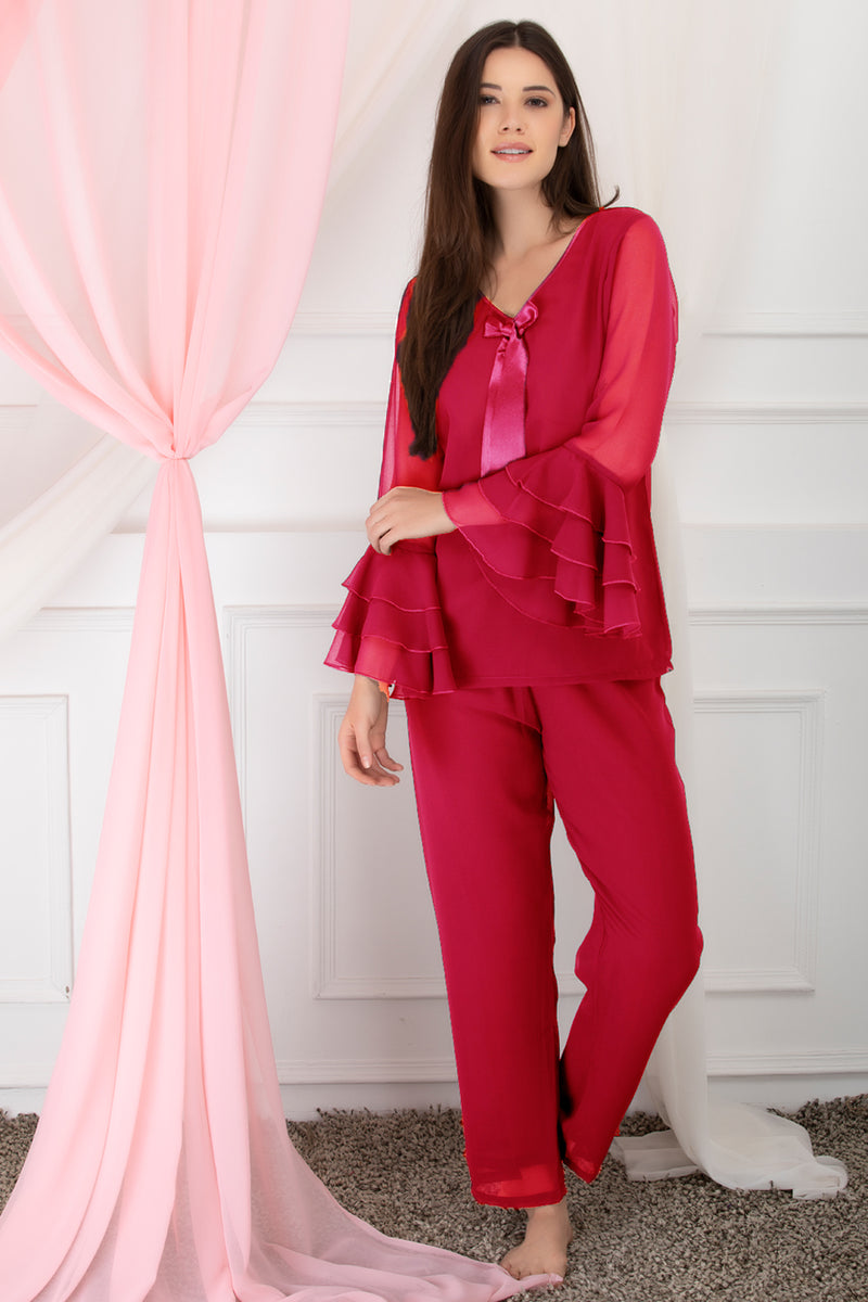 Luxe after-hours ruffled sleeve chiffon Night Suit