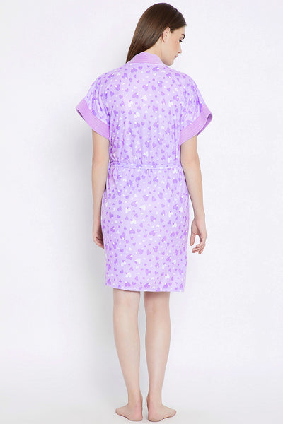 Private Lives Mauve Cotton Bath Gown - Private Lives