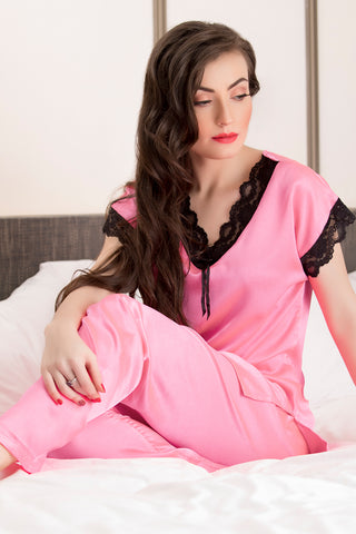 After-hours Light Pink satin Night-suit