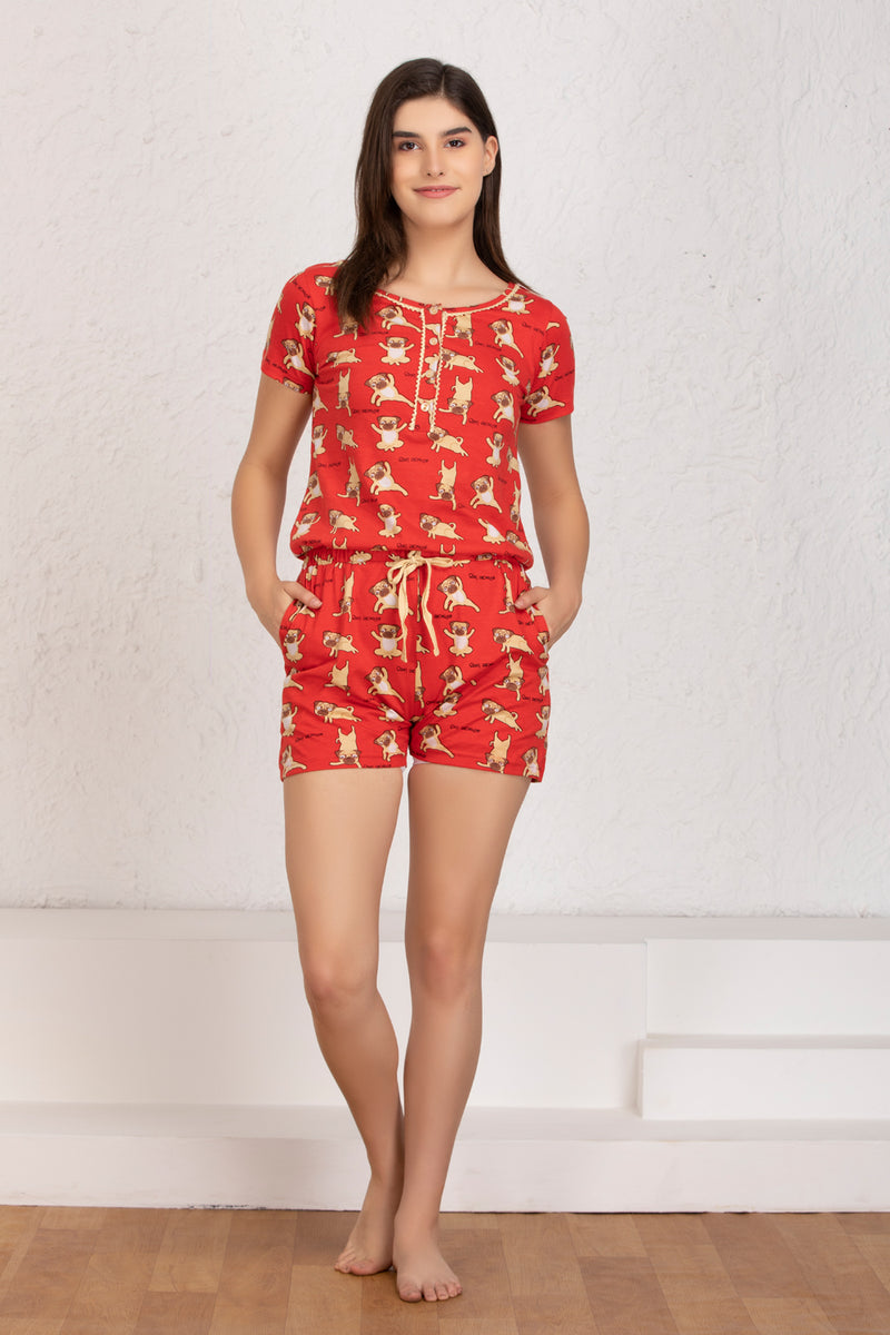 Red pug print hosiery Jumpsuit