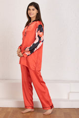 Satin Night suit with floral sleeves