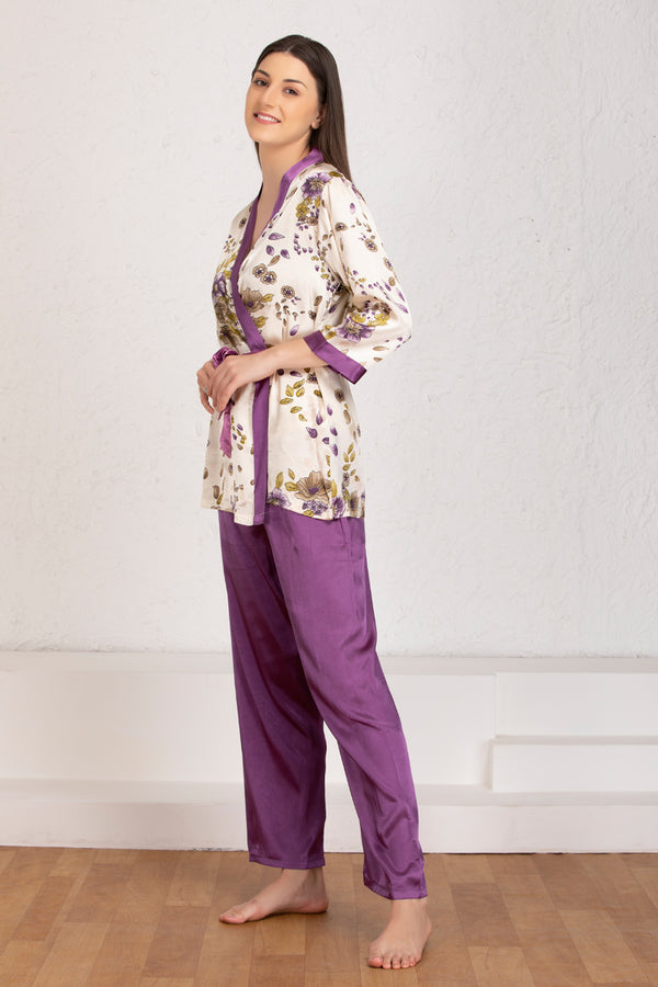 Floral Satin Night suit with Robe