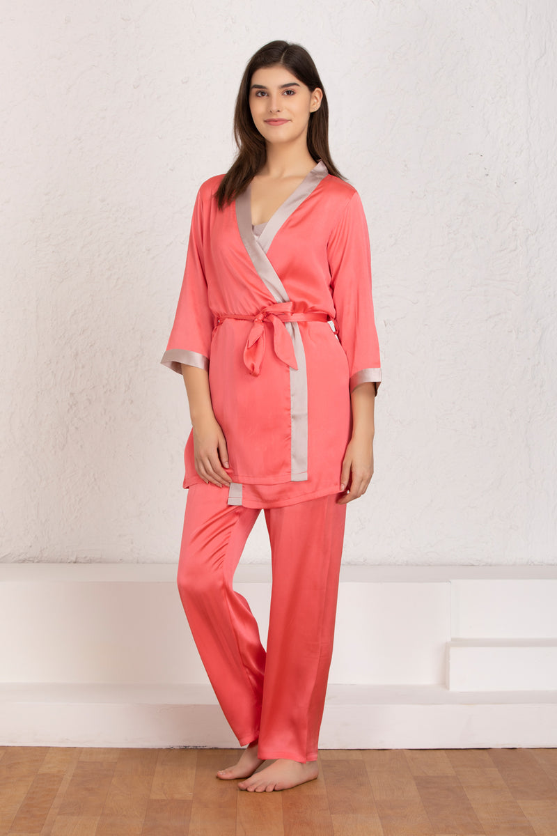 Plain satin Nightsuit with robe